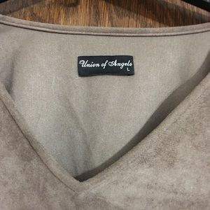 union of angles Dresses - Suede long sleeve tan dress